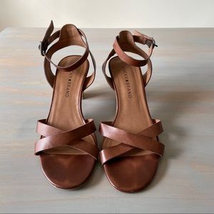 Lucky Brand Brown Faux Leather Stacked Heel Sandal